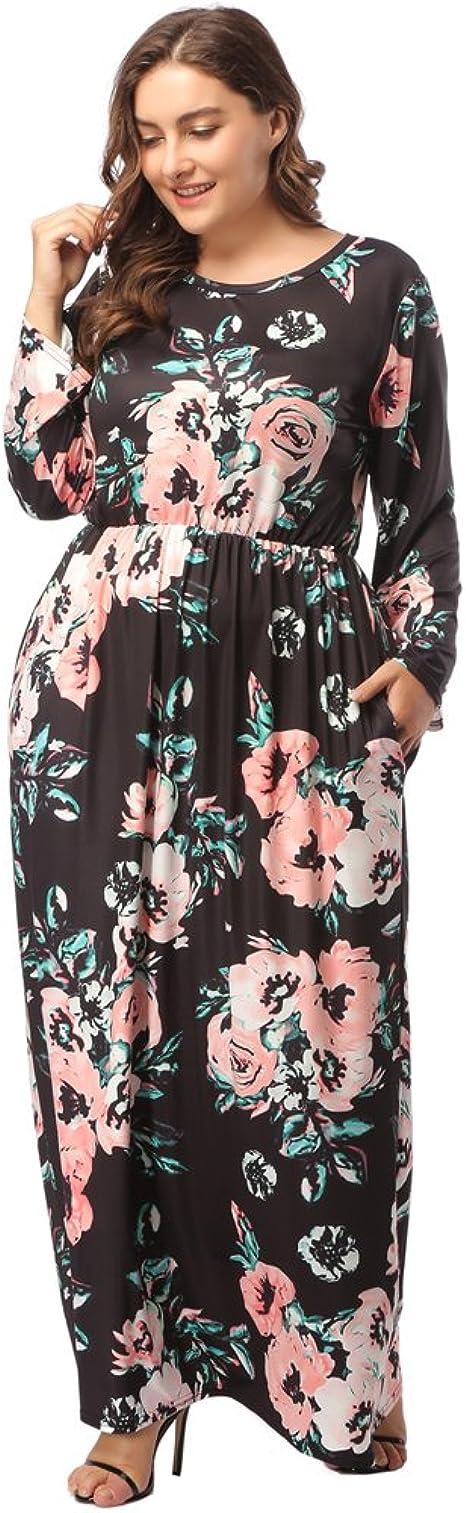 TALLA (EU50-52)2XL. Lover-Beauty Vestido Largo Mujer Talla Grande Moda Bolsillo Top Falda para Fiesta Verano Manga Corta Floral Estampada Suleto Moda de Ropa Elegante Maxi Negro 2 (EU50-52)2XL