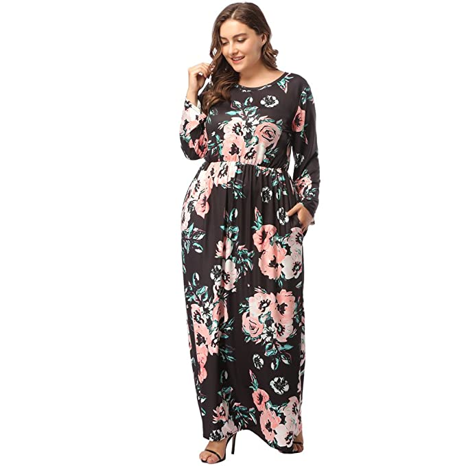 KUREAS Women Long Sleeves Floral Printed Maxi Dress Floor Length Party  Dresses Plus Size with Pockets