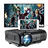 Projector, Weton 2200 Lumens Video Projector 1080P Portable Mini Projector Multimedia LED Projector Home Theater Movie Projector Support HDMI, USB, VGA, AV for IOS Android Smartphone (Plug and Play)