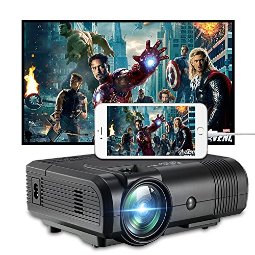 Projector, Weton 2200 Lumens Video Projector 1080P Portable Mini Projector Multimedia LED Projector Home Theater Movie Projector Support HDMI, USB, VGA, AV for IOS Android Smartphone (Plug and Play) by Weton
