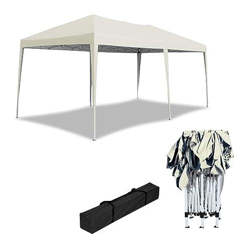 HENGMEI 3x6m Cenador Plegable para jardín Carpa pabellón Tienda sin Paredes Laterales para Eventos y Fiestas