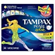 Tampax Pearl Active Plastic Tampons, Triple pack, Light/regular/super Absorbency, Unscented, 36 Count