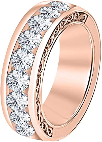 SVC-JEWELS 14k Rose Gold Plated Round Cut Black CZ Diamond 9-Stone Mens Wedding Band Anniversary Ring 925 Sterling Silver
