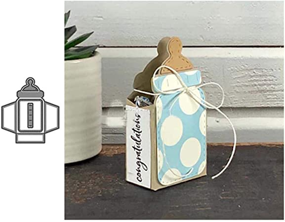3D Milchflasche Box Scrapbooking Pr/ägeschablonen Handwerk Festival Geschenk Silver Lai-LYQ Stanzmaschine Stanzschablone