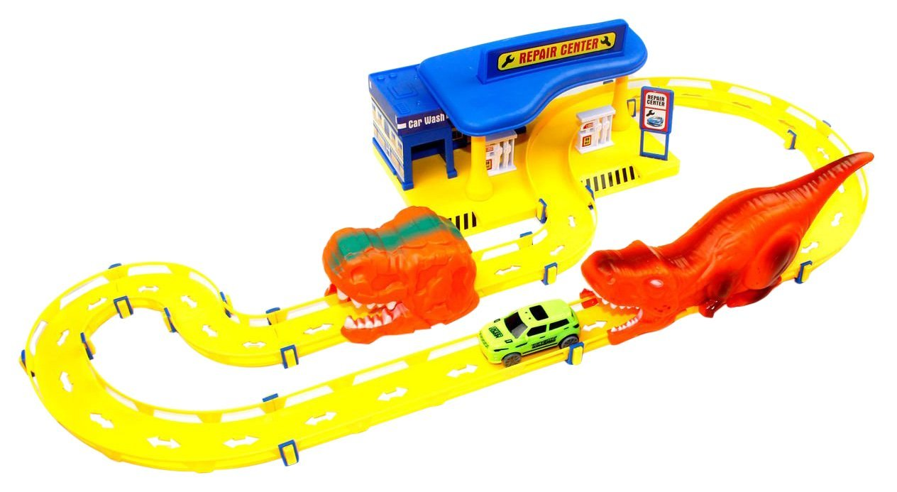 Little Treasures Repair Center Exciting Race Track Train On the Tracks to Become A Expert Racing Driver with the Sleek Car Vehicle