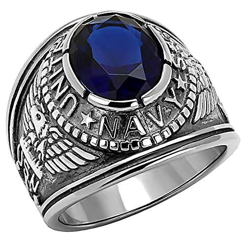 Navy: Mens 5.0ct Simulated Sapphire USA Navy Military Signet Ring 316 Stainless Steel, 3061 sz 10.0 by 1000 Jewels