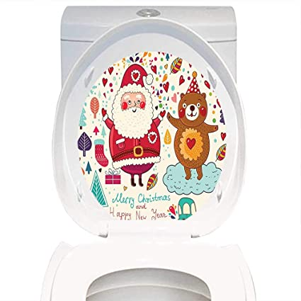 4d795b08397 Qianhe-Home Toilet Seat Wall Stickers Paper Christmas Decorations Merry  Santa and Teddy Bear Vintage