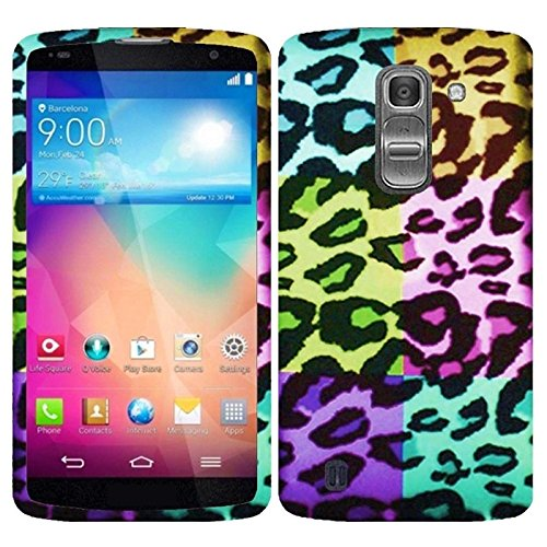 HR Wireless Rubberized Design Cover Case for LG G PRO 2 - Retail Packaging - Colorful Leopard