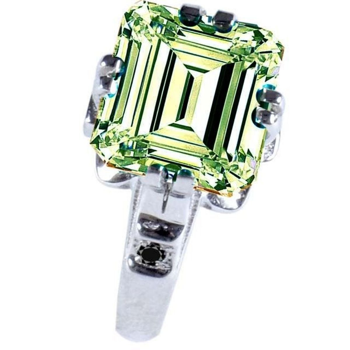 RINGJEWEL Silver Plated Emerald Moissanite Engagement Ring Size 7 (Off White Color,5.00 Ct,SI1 Clarity)