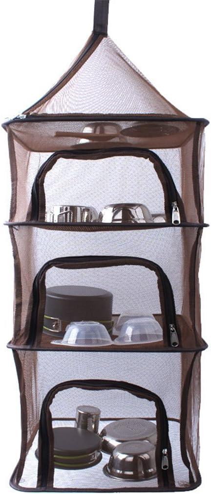 CFtrum 4 Capas Cesta de Red de Secado de Malla, Cesta Colgante Plegable con Bolsa de Almacenamiento para Cocina al Aire Libre Camping Senderismo