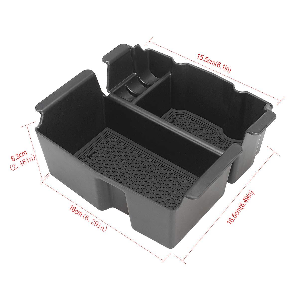 LITTOU Car Center Console Organizer Armrest Box Secondary Storage Box with Non-Slip Mat Compatible for Wrangler JL 2018 2019