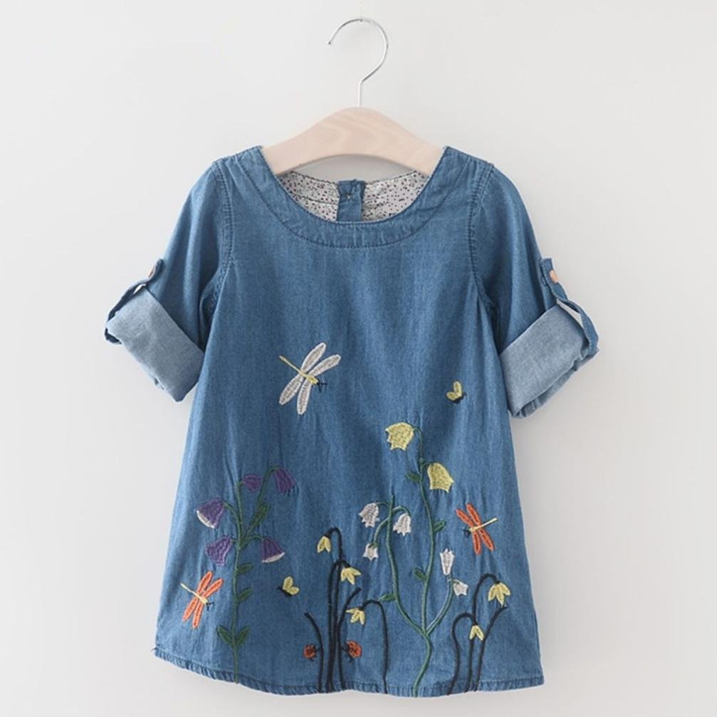 Muium Flower Princess Toddler Infant Baby Girls Embroidery Denim Dresses Outfits for 2-7 Years Old