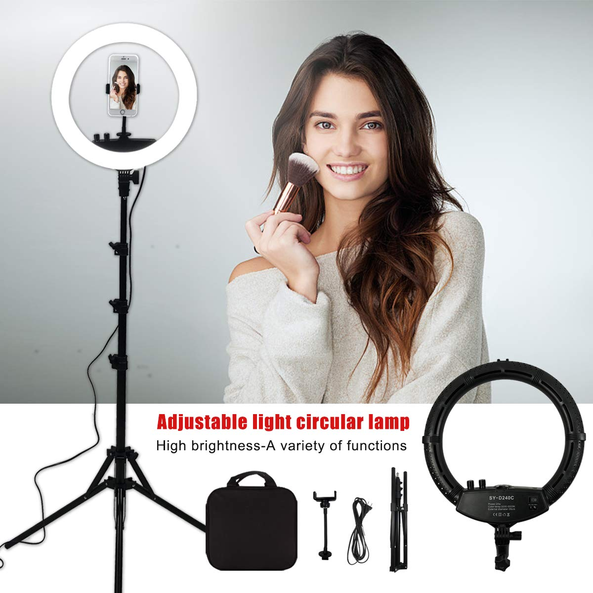 YBLMYWLW 12 inch 240 Led Ring Light Dimmable 3200K-5500K with Stand Professional Makeup Lights Video Shooting Fill Light Nail Art Eyebrow Studio Selfie