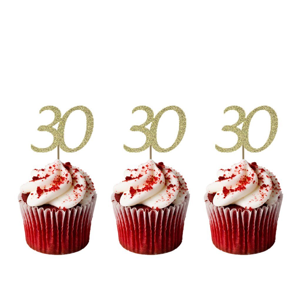 Outstanding Lissielou Number 30 Cupcake Toppers Glitter Black 30Th Birthday Personalised Birthday Cards Bromeletsinfo