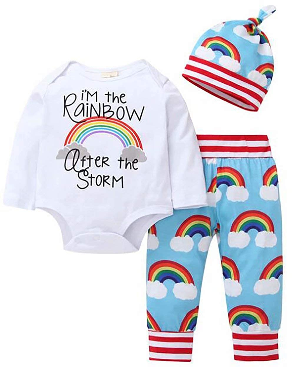 MOUSYA Cute Rainbow Print Long Sleeve Romper+Pants+Hat Outfit for Toddler Baby