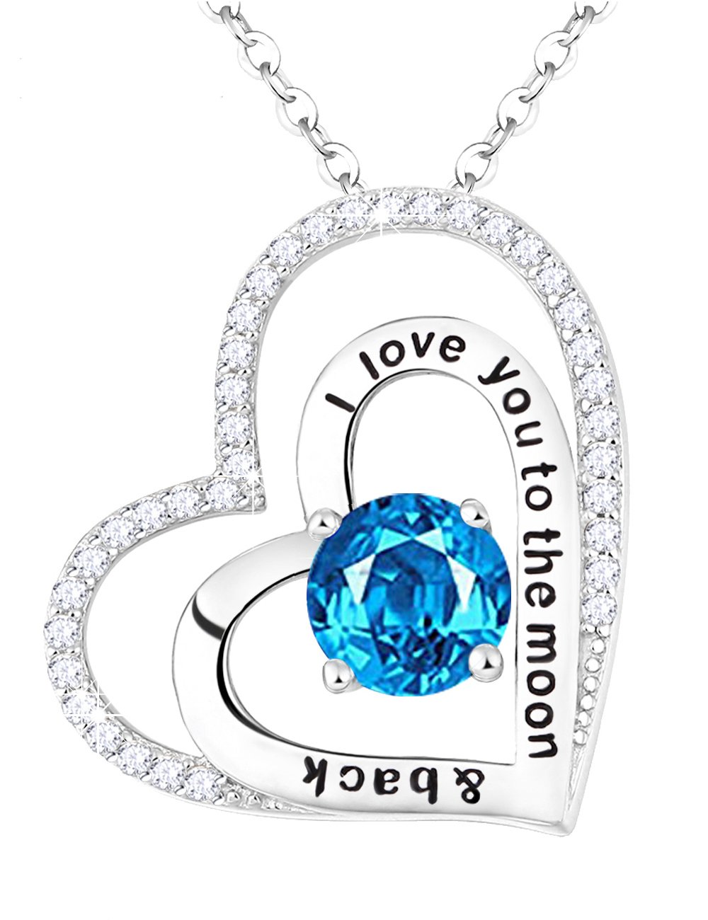 Birthstone Gifts Jewelry Natural Swiss Blue Topaz Double Love Heart Necklace for Women Birthday Anniversary Gift for Her Lady Wife Girlfriend Sterling Silver Heart Pendant, 18''+2'' Chain