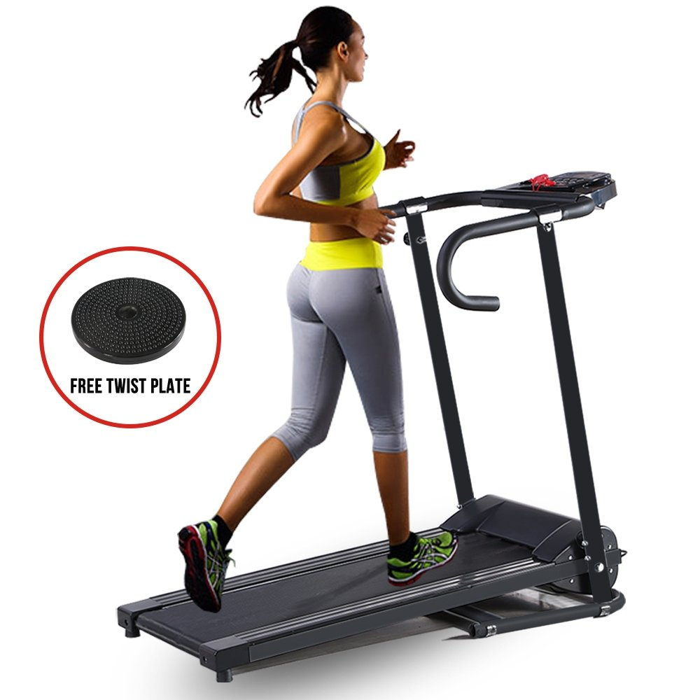 Fitnessclub Electric Motorized Treadmill Machine Folding Running Gym Fitness Machine for Exercise-Black color with Twist Plate