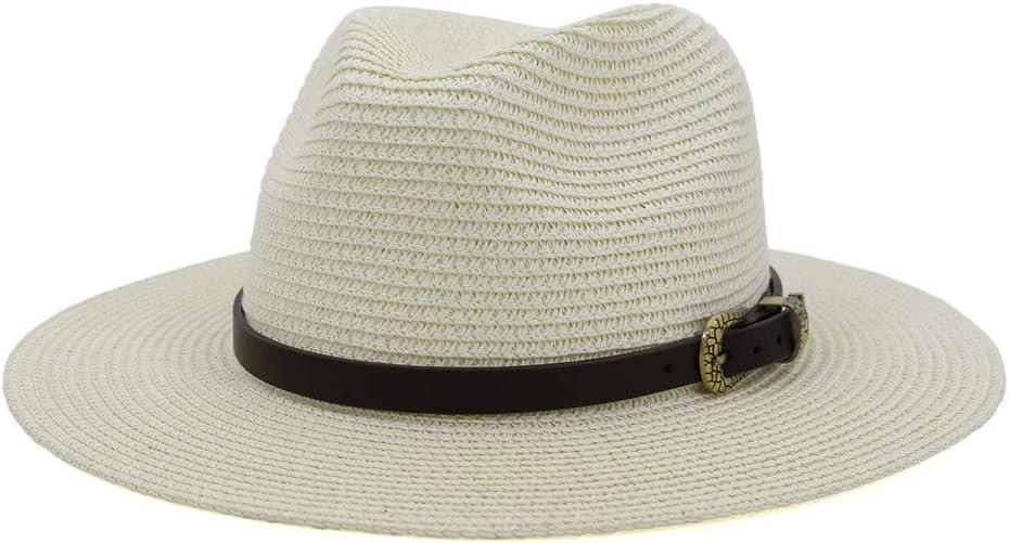 Newdiva Men /& Women Vintage Wide Brim Fedora Hat with Belt Buckle Adjustable Windproof Sun Protection Cap Outdoors Caps
