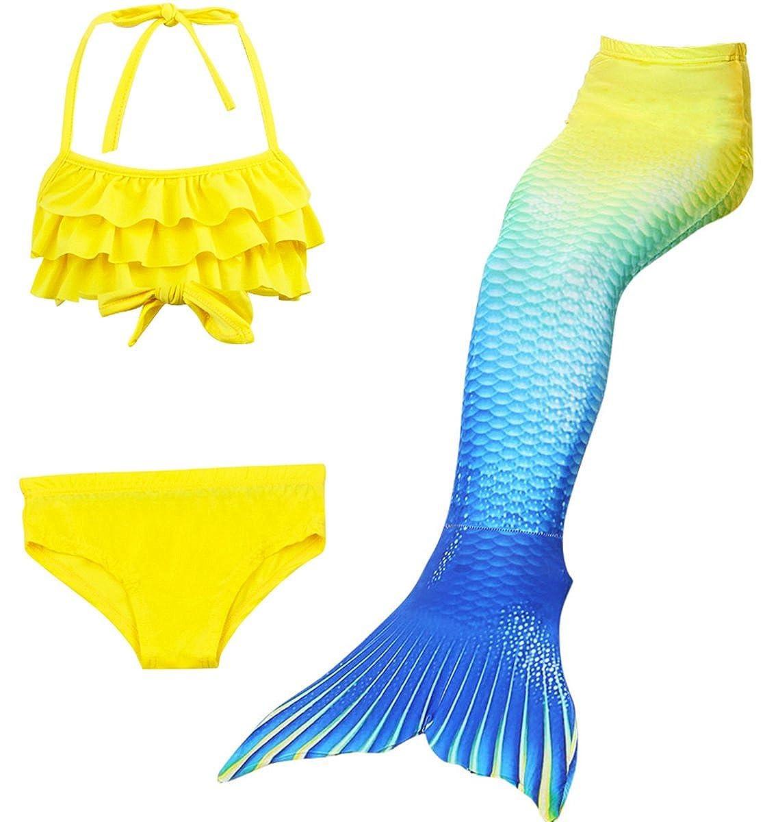 LCXYYY Mädchen Meerjungfrauen Tankini Bikini Set Schwimmanzug Badeanzüge Prinzessin Cosplay Kostüm Neckholder Falt Tops Meerjungfrauenschwanz Schwimmen Meerjungfrauenflosse für Kinder Bademode 3pcs