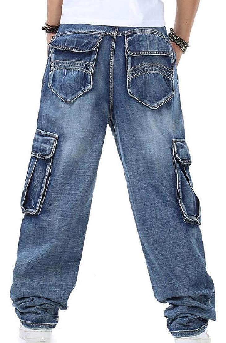 Wofupowga Mens Stylish Jeans Mid Rise Denim Multi-Pocket Trousers Open Bottom Pants