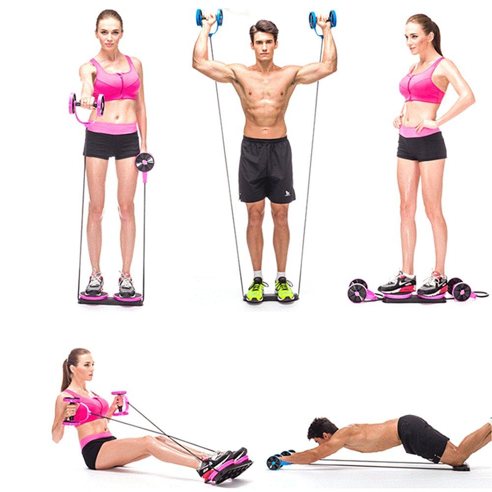 blueidea® Portátil multifunción Mini gimnasio en casa Fitness ejercicio Abdominal Ab Roller rueda de cintura mango máquina de ejercicio, azul: Amazon.es: ...