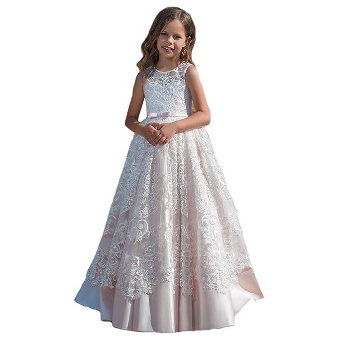 MerryGirl Vestidos de niña de Flores para Bodas Vestidos de Primera comunión de Encaje (2