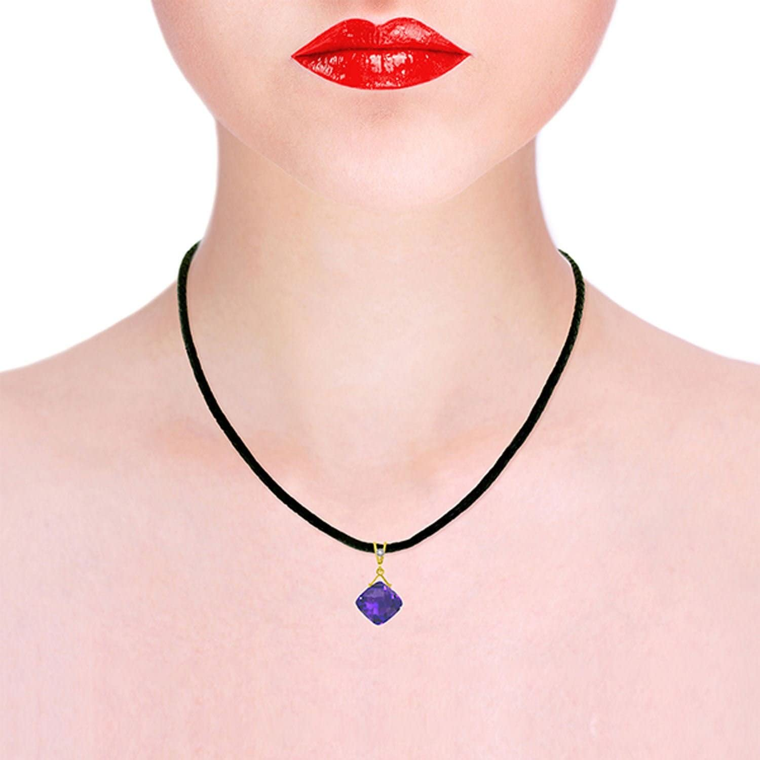 ALARRI 8.76 Carat 14K Solid Gold Leather Necklace Diamond Purple Amethyst with 22 Inch Chain Length