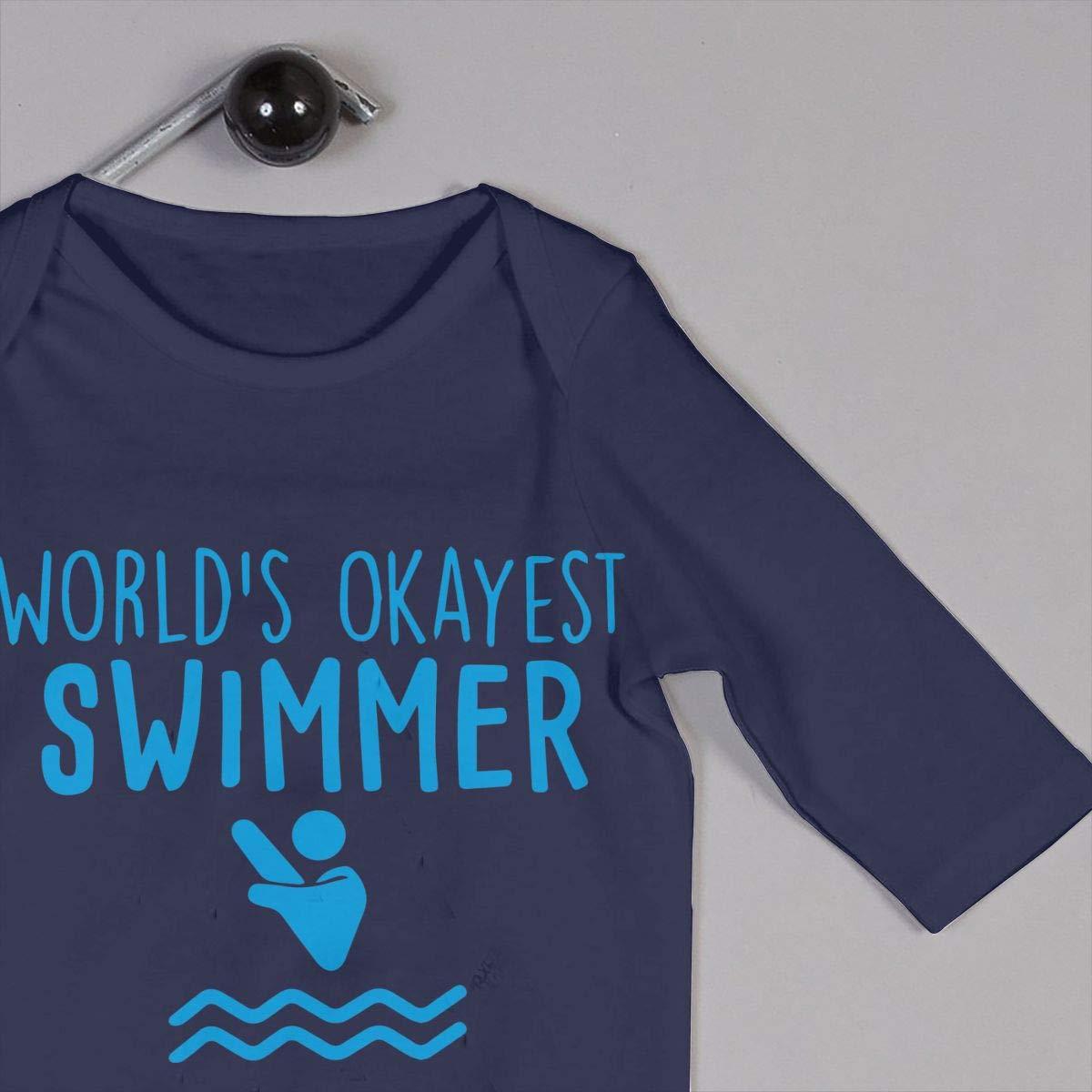 LBJQ8 Worlds Okayest Swimmer-1 Newborn Infant Baby Girls Long Sleeve Bodysuits Coverall Jumpsuit