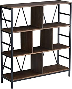 Grafzeal Industrial Bookcase 4-Tier Retro Bookshelf, Vintage Book Storage Cabinet Rack Shelf with Metal Frame for Books Photos Decorations in Living Room, Office, Library, Distressed Brown FBCS07PT