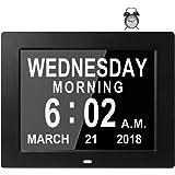8 Idiomas - Reloj Digital Calendario de Día Alarma Grande Despertadores Electrónicos Pérdida de Memoria Ancianos Sénior Demencia Alzheimer Visión Pacientes Digital Day Clock Calendar (Negro)