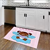 Non-slip Thicken Carpet Baptism Boy Christening Striped Dotted Background Christian Rel Easier to Dry for Bathroom W35''xH23''