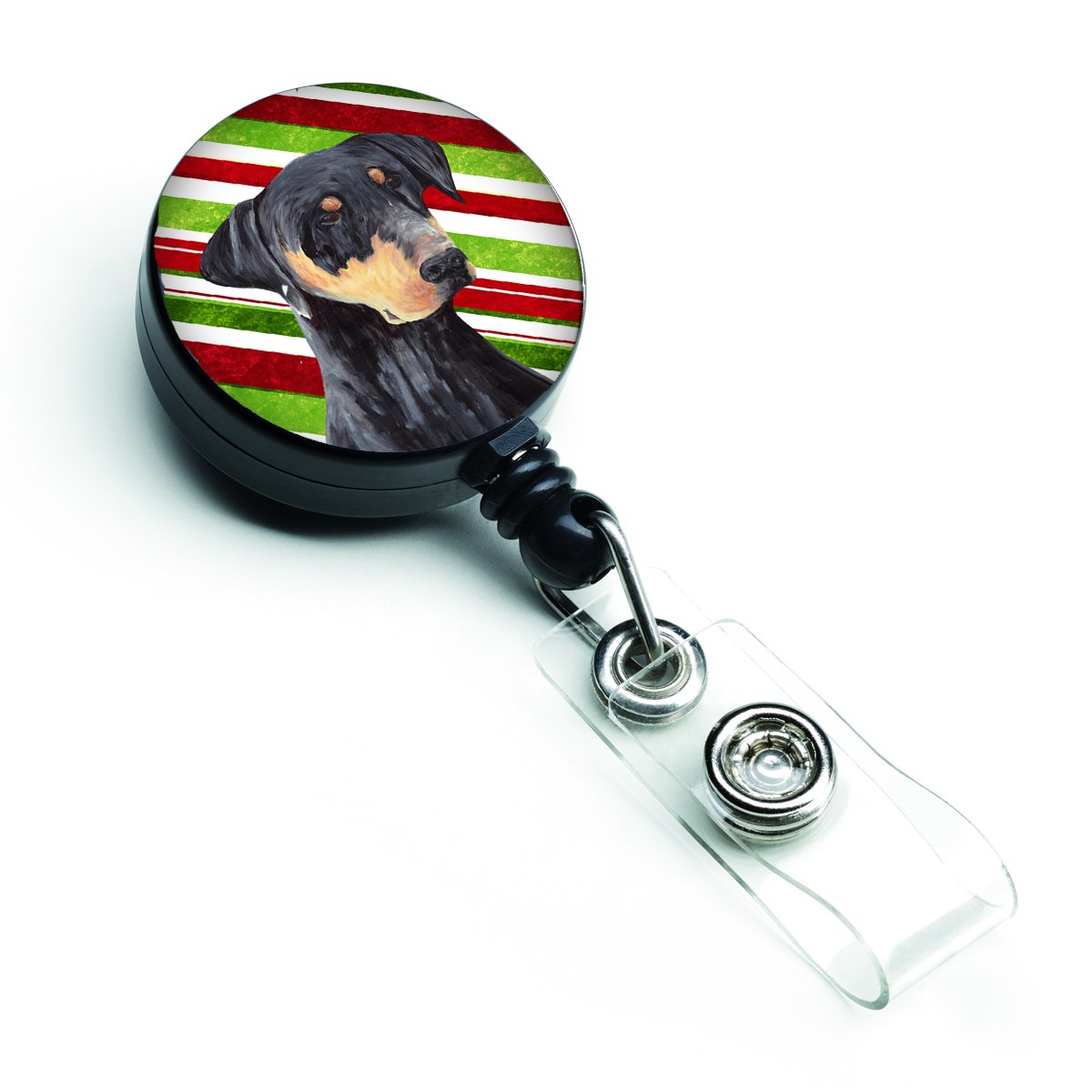 Caroline tesoros del Doberman bastón de caramelo caramelo de vacaciones Navidad retráctil Badge Reel, multicolor (sc9337br) 92ed26