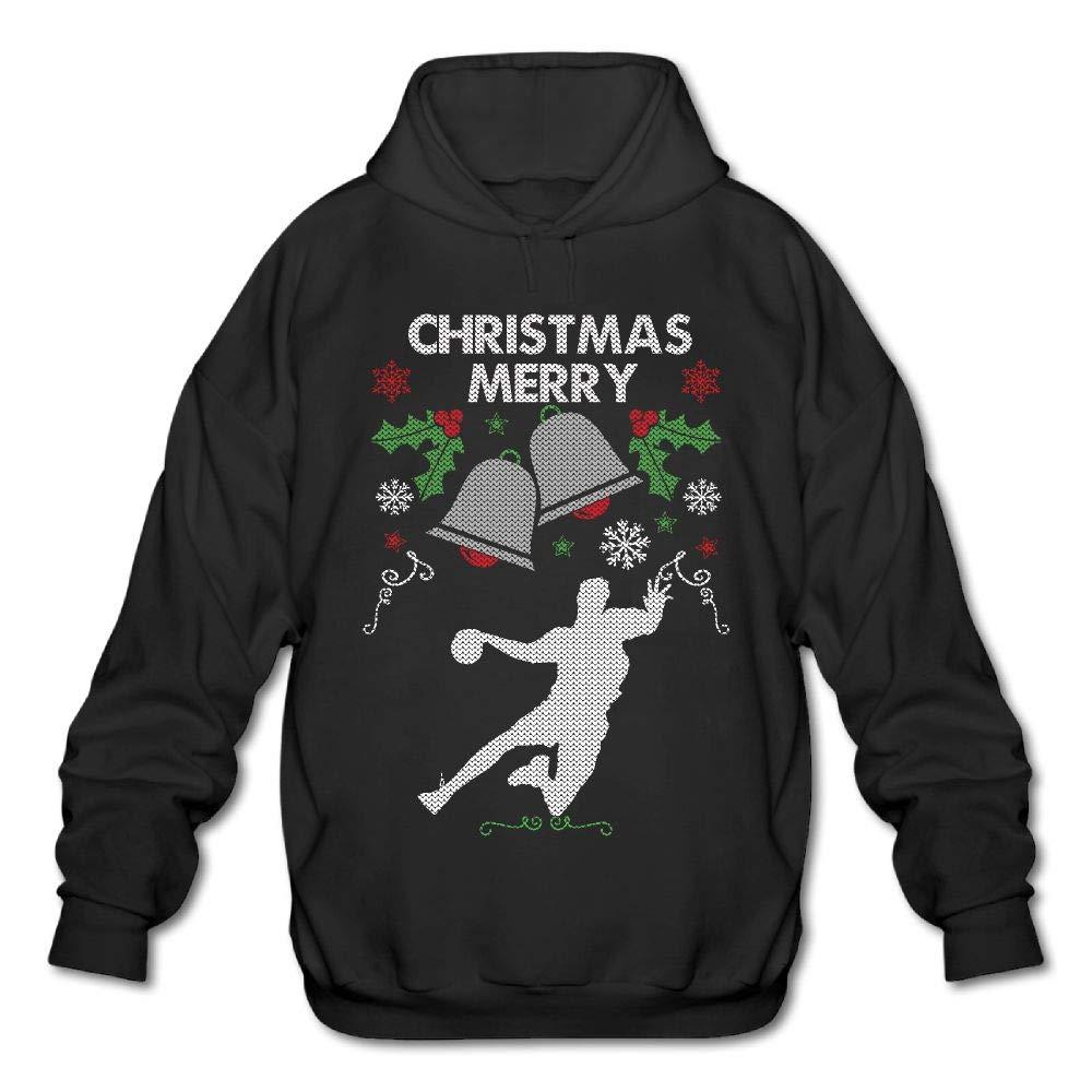 Merry Christmas Handball Mens Funny Hooded Sweatshirt Sweater