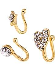 HOMYL 3 Pieces Girl Charm Flower Heart Pentagram Crystal Metal Women Nose Rings