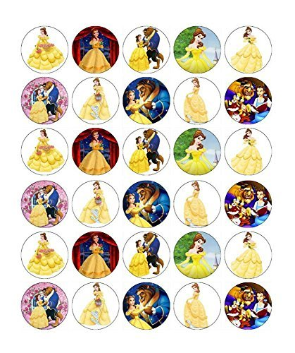 Price comparison product image 30 x Edible Cupcake Toppers – Beauty and The Beast Belle Themed Collection of Edible Cake Decorations for Girls / Uncut Edible Prints on Wafer Sheet - BUY 2 GET 3RD FREE