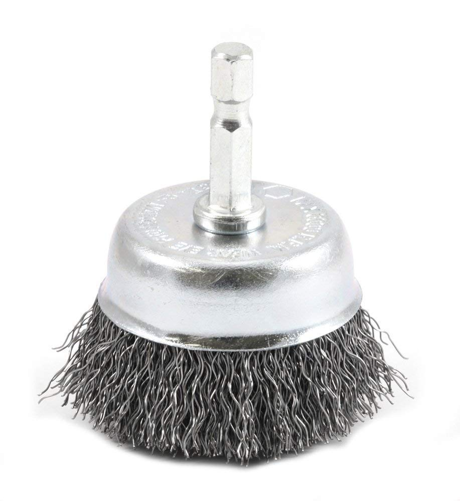 Forney 72729 Wire Cup Brush, Coarse Crimped with 1/4-Inch Hex Shank, 2-Inch-by-.012-Inch (10)