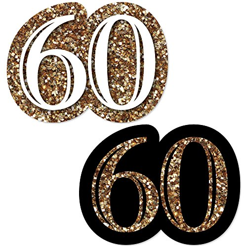 Big Dot of Happiness Adult 60th Birthday - Gold - DIY Shaped Birthday Party Cut-Outs - 24 Count -