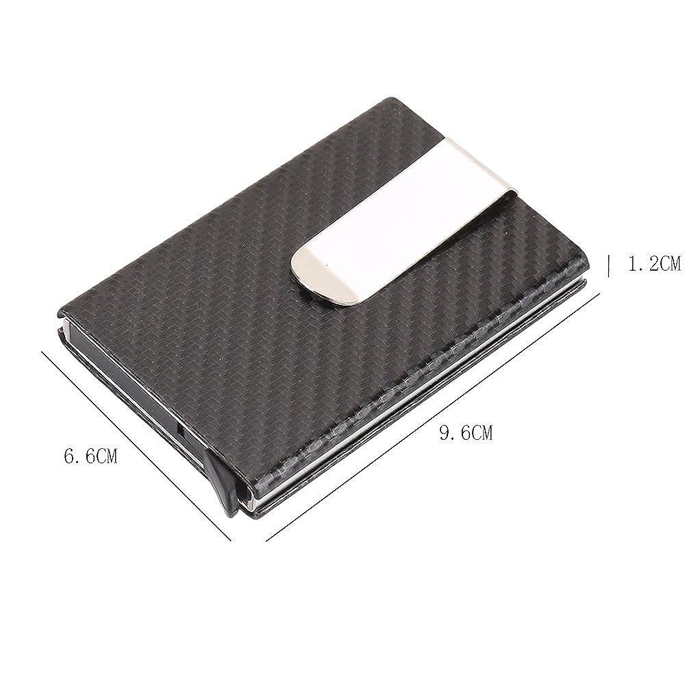 17a1a66f349 Carbon Fiber Pop Up Wallet Mens Card Case RFID Money Clip Cool Card ...