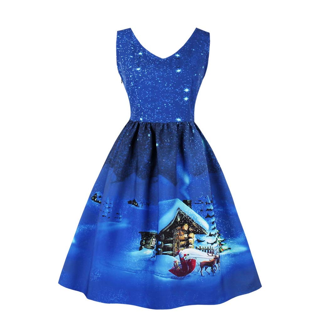 03darkbluee Fenxxxl Women's V Neck Sleeveless Vintage Tea Party Dress Christmas Santa Claus Dress