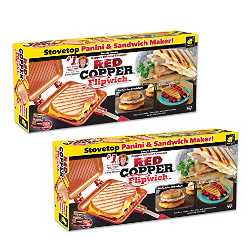 Red Copper Flipwich Non-Stick Grilled Sandwich and Panini Maker by BulbHead (2 Pack)