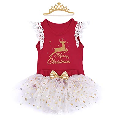 eef3982b9 Baby Girls My First Christmas Outfit Xmas Newborn Infant Toddler Tutu Dress  Set 3PCS Sleeveless One