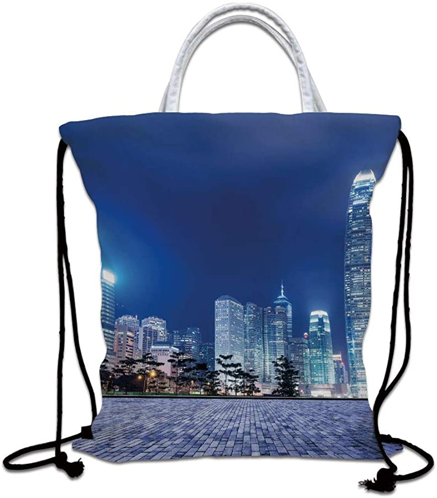 Urban Drawstring Backpack,Hong Kong Skyline Night Architectural Cityscape Skyscrapers Modern Photo Lightweight Gym Sackpack Tote Bags for Gym Hiking Travel Beach,Royal Blue Purplegrey