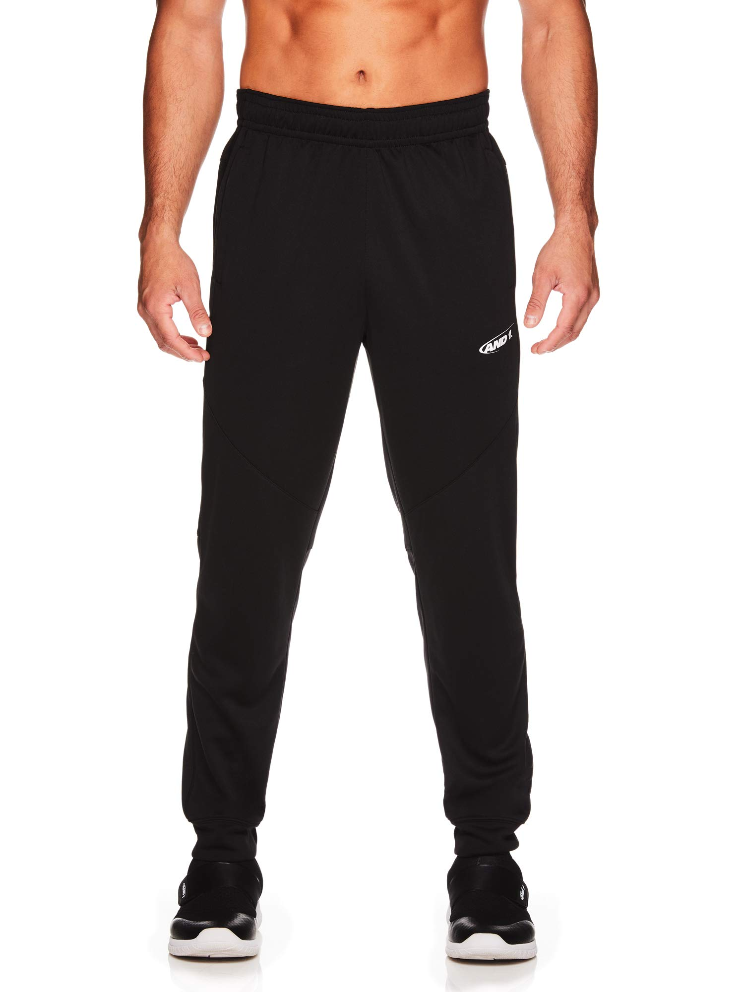 AND1 Men's Tricot Jogger Pants - Basketball Running & Jogging Sweatpants w/Pockets - Black, Small
