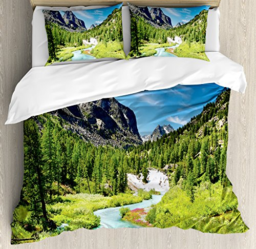 (Ambesonne Altai Pine Forest Duvet Cover Set King Size, Rainforest River Rocky Mountains Snenery Siberia Whitewater, Decorative 3 Piece Bedding Set with 2 Pillow Shams)