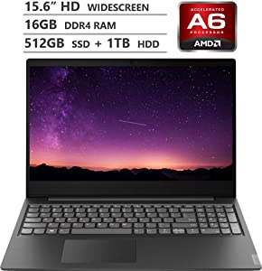"2019 Newest Lenovo Ideapad S145 15.6"" HD TN Widescreen Laptop, AMD A6-9225 Processor up to 3.00GHz, 16GB RAM, 512GB PCIe NVMe M.2 SSD + 1TB HDD, HDMI, Wireless-AC, Bluetooth, Windows 10, Granite Black"