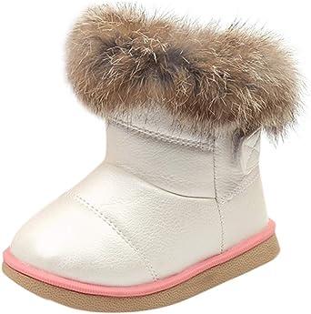 Longra Enfant Garçon Fille Hiver Bootie Chaud Bottes de Neige Cuir Boots Hiver Bébé Bottes d'hiver Fourrure Chaudes Antidérapant Sole Souple Bottines