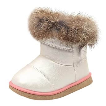 5055af644db49 Longra Enfant Garçons Filles Hiver Bootie Chaud Bottes de Neige Cuir Boots  Hiver Bébé Bottes d