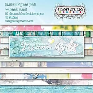 7 de Verano Azul puntos 15,24 cm x 15,24 cm doble cara 24 hojas de papel diseñador