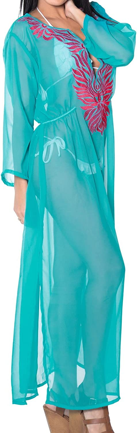 LA LEELA Womens Maxi Kaftan Swimwear Beach Cover Up for Swimwear Embroidered