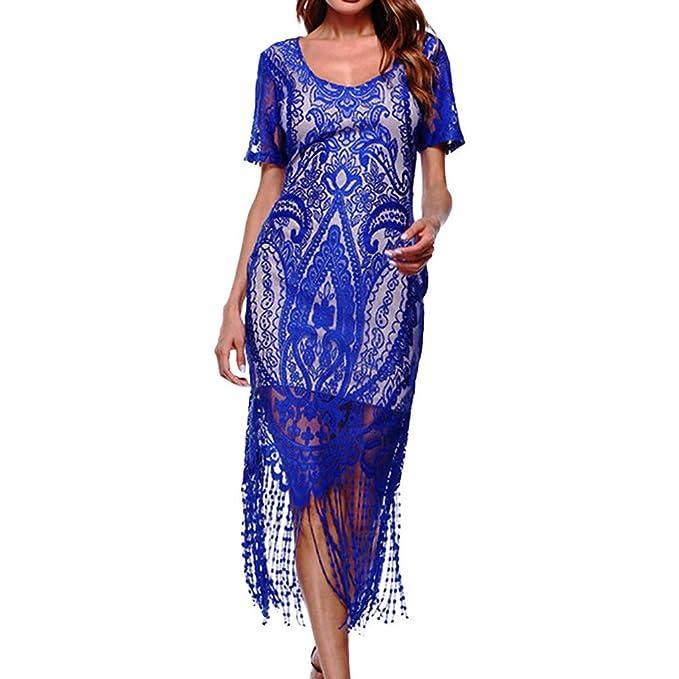 4dfbbb2dba2afc Geilisungren Kleider Damen Kurzarm Franse Spitzenkleid Sexy V-Ausschnitt  Slim Bodycon Knielang Kleid Party Kostüm